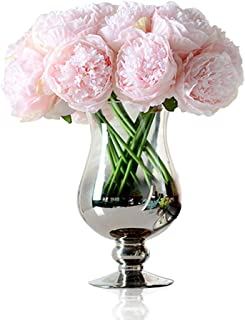 Felice Arts Artificial Peony Silk Flowers Bouquet Room Home Office Wedding Party Flowers Decor(Pink)