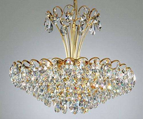 Kronleuchter mit Kristallbehang 24 Karat vergoldet