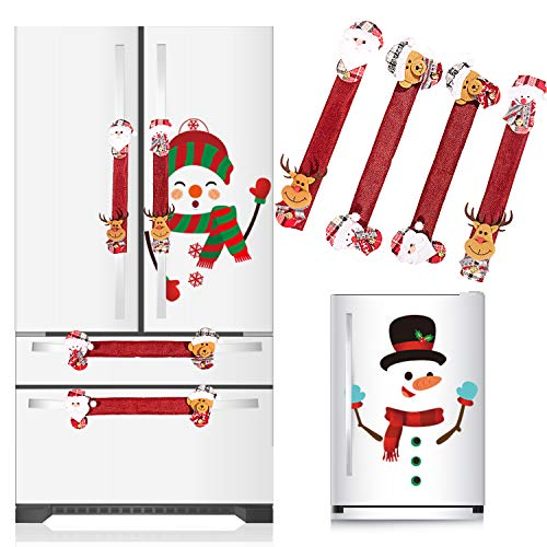 Whaline Christmas Refrigerator Decorations Set, 4 Xmas Fridge Door Handle Covers and 2 Snowman Stickers, Santa Clause Elk Snowman Christmas Ornament for Kitchen Home Decor