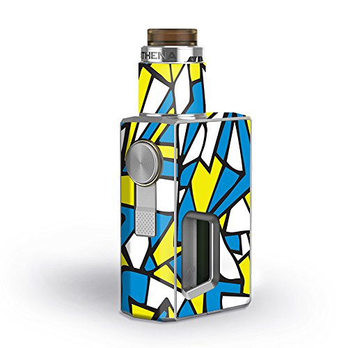 Skin Decal Vinyl Wrap for GeekVape Athena Squonk Kit Vape Kit skins stickers cover / Stained Glass Abstract Blue Yellow