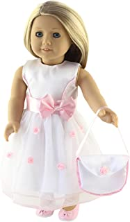 18 Inch Doll Clothes (Fancy Flower Dress with Matching Pink Dress Shoes and Purse Fits American Girl Dolls)