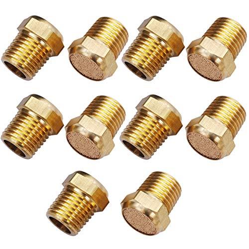 """mxuteuk 10pcs Brass Pneumatic Muffler Filter Noise Silencer, Hex Sintered Silencer Air Line Fitting Flat 1/4"""" NPT XYQ-P-(1-4)"""