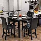 LZ LEISURE ZONE Dining Table Set for 4, Kitchen Table Set Faux Marble Veneer Wooden Top Counter Height Dining Room Table Set with 4 Leather-Upholstered Chairs (Black)