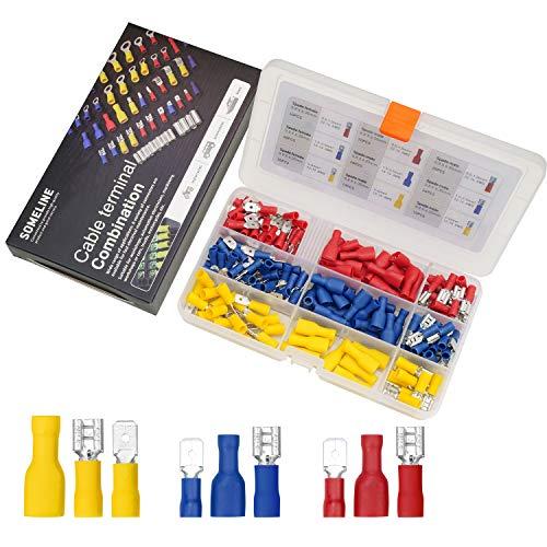 Kabelschuhe Kit Isolierte Kabelverbinder Flachstecker Rundsteckhülsen Rundstecker Steckverbinder Flachsteckhülse vollisoliert für 0.5-6 mm² Kabel SOMELINE Stoßverbinder 200 Stück in 3 Modelle