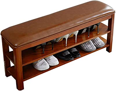 FFZW Hallway Storage Bench Wood 2-Tier Shoe Rack Storage Shelf Cabinet Shoe Bench Seat Storage Organiser Footstool for Entryway Living Room Rest Stool (Color : Brown, Size : 57X27X45.5cm)