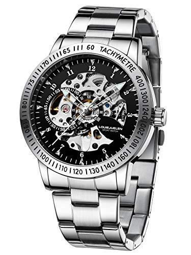 Reloj de Pulsera Acero Inoxidable Mecánico Automático Impermeable para Hombre (Plata/Negro/Blanco/Plata)