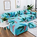 WXQY Funda de sofá con Estampado de Hojas Verdes a Rayas Rosa, Funda de protección para Muebles, Funda de sofá de Estilo Moderno y Bonito A8 de 2 plazas