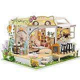 Hosdiy Miniature Maison à Construire - DIY Chat Maison de Poupee a Construire en Bois avec Meubles, Musique, LED - Cadeaux pour Adultes Enfants 14+