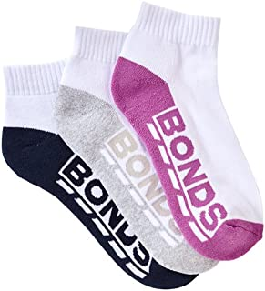 Bonds Women's Cotton Blend Logo Quarter Crew Socks (3 Pack)