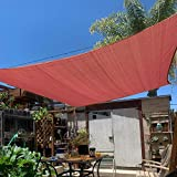 KANAGAWA 7'x13' Sun Shade Sail Rust Red Rectangle UV Block Canopy Awning Shelter Fabric Cloth Screen...