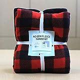 Buffalo Plaid Lumberjack Anti-Pill No-Sew Throw Fleece Fabric Kit (72x60)