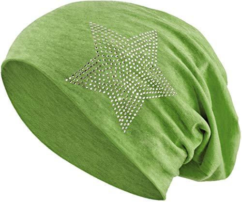 Balinco Jersey Baumwolle elastisches Long Slouch Beanie Unisex Herren Damen mit Strass Stern Steinen Mütze Heather in 35 (2) (Heather Green)