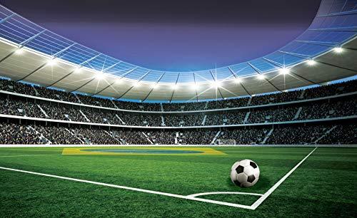 Forwall Fototapete Vliestapete Wanddeko Fußball Fußballstadion - 3D Tribüne Fussballfeld Kinderzimmer Moderne Wanddekoration Wandbild 1914V8 368cm x 254cm