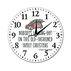Mesllings Wall Clocks Nobody's Walking Out On This Old Round Glass Wall Clock, Wall Decor Clocks for Kitchen, Office, Retro Hanging Clock, Home Decor Accessories