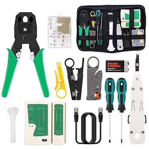 16 in 1 Netzwerk Reparaturwerkzeuge Professionell Netzwerk Werkzeug Set LAN Kabel Tester für RJ45, RJ11, RJ12 Netzwerk Kabeltester Kit mit 17 Anschlüssen und 2M Netzwerkkabel