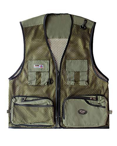 Daoba Herren Mesh Multifunktionsweste Summer Outdoor Sport Weste mit Vielen Taschen für Angeln Jagd Camping Safari