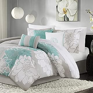 Madison Park Lola 7 Piece Print Comforter Set, Aqua, King
