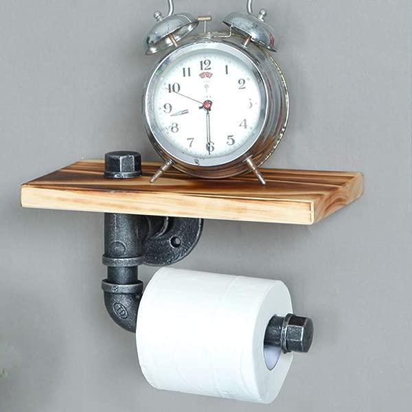工业复古管道浴室壁挂式置物架纸巾卷衣架衣服架厨房酒架厕纸架 9 英寸