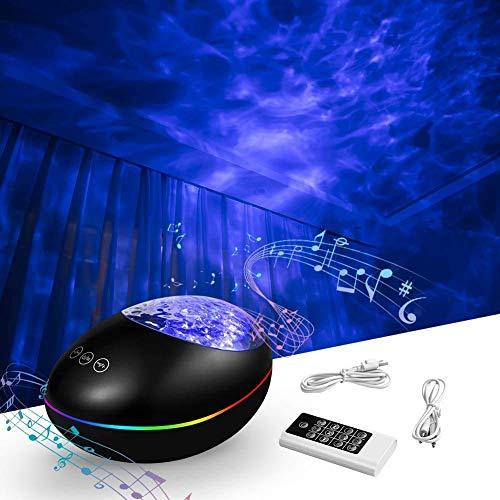 Ozeanwellen Projektor, Amouhom LED Nachtlicht Projektor mit Fernbedienung, 8 Beleuchtungsmodi/Bluetooth-Musiklautsprecher/AUX-Kabel TF Karte für Baby Schlafzimmer Wohnzimmer Weihnachten Geburtstag