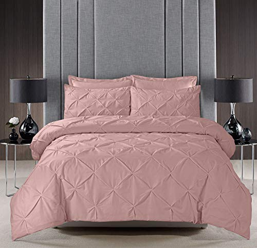 Pinch Pleat PINTUCK Duvet Cover Set Bedding With Pillow Cases Hand Made Cotton Blend (Blush Pink, King Size)