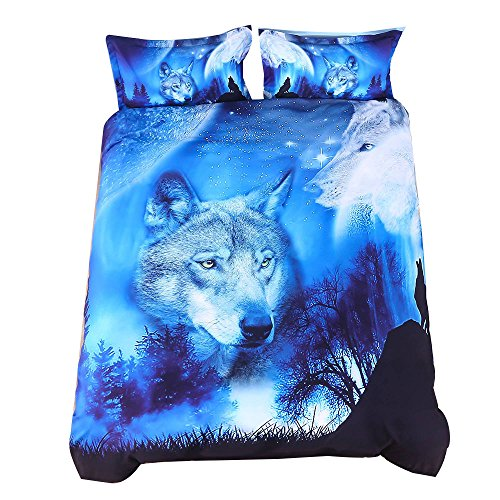 Wowelife 3D Wolf Bedding Queen Size Blue Wolf Duvet Cover Set 4-Pieces with 1 Duvet Cover,1 Flat Sheet and 2 Pillow Cases (Comforter and Fitted Sheet Not Included)(Queen)