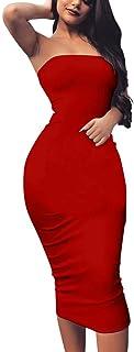 BORIFLORS Women's Basic Sleeveless Tube Top Sexy Strapless Bodycon Midi Club Dress