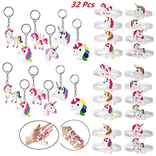 Feidiao Einhorn Gastgeschenke Einhorn Schlüsselanhänger Armband Set Anhänger für Tasche und Schlüssel, Einhorn Geburtstagsfeier Gefälligkeiten für Kinder Mädchen, Emoticon Spielzeug (32 Multi)