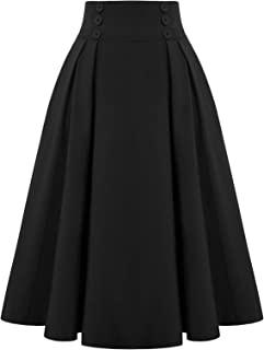 Women Plaid Skirt Vintage High Waist Pleated Skirt with Pockets BPA020