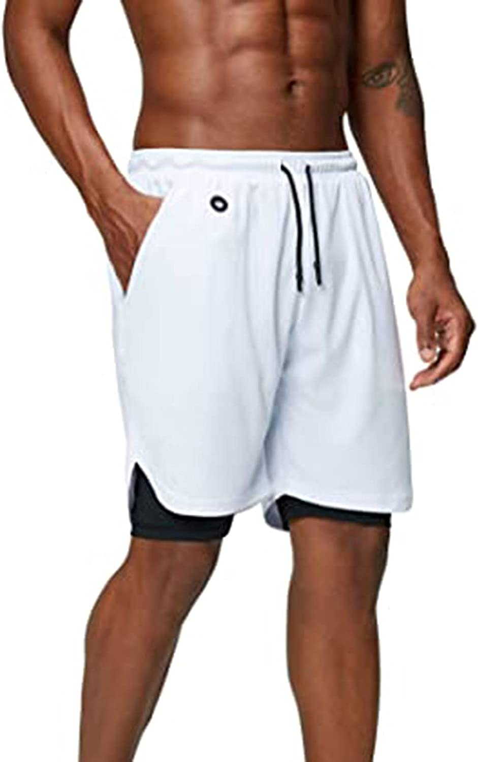 PHSHY Men's Workout Shorts Summer Lightweight Drawstring Elastic Waist Pants Casual Athletic Gym Camouflage Short