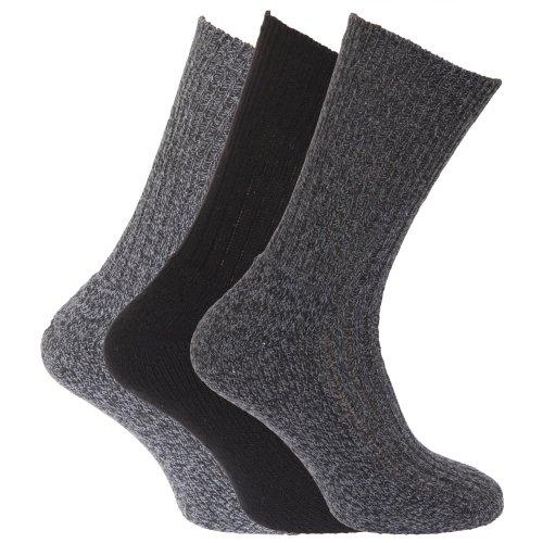Universaltextilien Herren Socken, hoher Wollanteil, 3er-Pack (39-45 EUR) (Schwarz/grau)