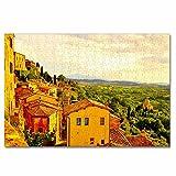 Italia Toscana Rompecabezas para Adultos, 300 Piezas, Rompecabezas de Madera para niños, Regalo de Viaje, Recuerdo, 16.5 × 12 Pulgadas