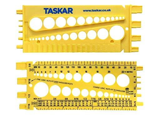 Taskar Nut, Bolt & Screw Measuring Gauge Size & Thread Pitch (Imperial/Metric)