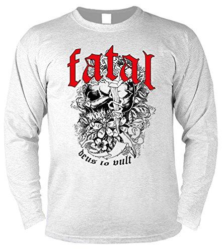 Herren Langarmshirt für Biker: Fatal deus lo vult - Geschenkidee - Geburtstag - Motorrad - Bikerkleidung - weiss