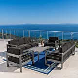 Coral Bay Outdoor Grey Aluminum 5 Piece Chat Set with Dark Grey Water Resistant Cushions