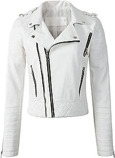Women Soft Faux Leather Jackets Lady Motorcyle Zippers Biker Coats Outerwear,White,M