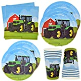 Green Farm Tractor Party Supplies Set 24 9' Plates 24 7' Plate 24 9 Oz Cups 50 Lunch Napkins for Animal Barn Birthday Parties Baby Shower Barnyard Cowboy Cowgirl Tractors Themed Disposable Tableware