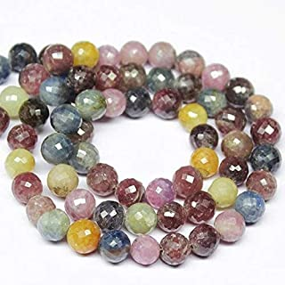 """Jewel Beads 50% Off Multi Color Sapphire Micro Faceted Round Ball Gemstone Craft Loose Beads Strand 11"""" 8mm Code-AUR-1475"""