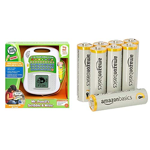 Leapfrog Mr Pencil's Scribble and Write Learning Toy & Amazon Basics AA Performance Alkaline Batteries [Pack of 8] - Packaging May Vary