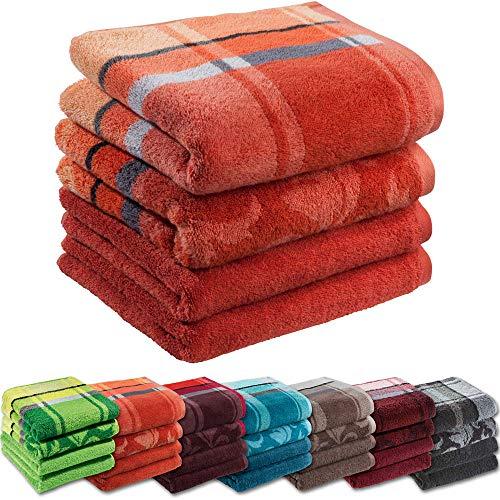 Erwin Müller Handtuch-Set 4er-Pack - 100% Baumwolle - Terra Größe 50x100 cm - kuschelweich, saugstark, voluminös - praktisch durch beidseitige Schlaufen (weitere Farben)