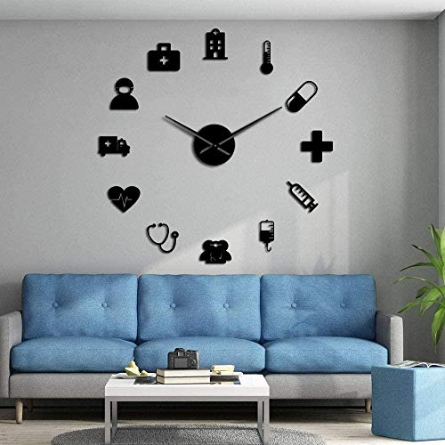 CCJIANI 3D wall clock sticker decoration simple, creative and accurate mute wall clock DIY, suitable for home/office/hotel_black-47 inches