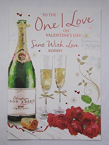 GROOT naar degene die ik hou van CHAMPAGNE & BLOEMEN VALENTINES DAG GREETING CARD
