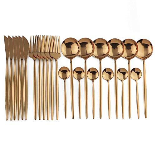 Juego de vajillas de Oro - 24 Piezas: Hecha de Material de Acero Inoxidable, vajilla es Robusto y Duradero, Anti-MOX. Zhenzhiyangshangmao (Color : Rose)