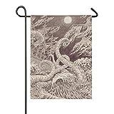 Banner de Patio al Aire Libre Luna Interior Noche Ataque de Calamar Pulpo Bandera de jardín 28x40 Pulgadas Decoración de Doble Cara