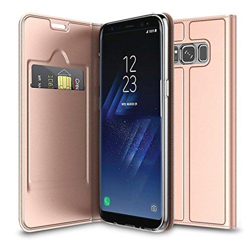 Verco Handyhülle für Galaxy S8, Premium Handy Flip Cover für Samsung Galaxy S8 Hülle [integr. Magnet] Book Hülle PU Leder Tasche, Rosegold