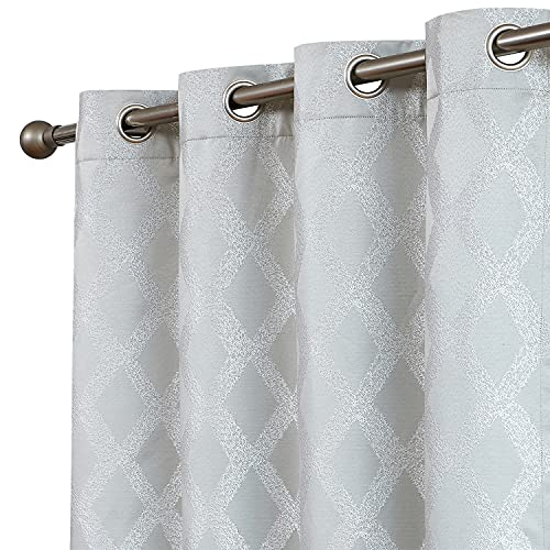 """Romantex Short Blackout Curtains for Bedroom 63 inches Silver Gray Geometric Jacquard Patterned Window Curtain Thermal Insulated Farmhouse Grey Room Darkeing Curtains 2 Panels,52"""" Wx63 L Grommet Top"""