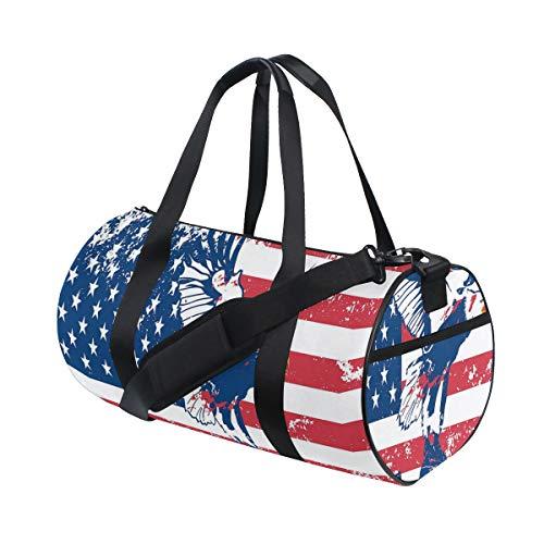 ZOMOY Bolsa de Deporte,Estados Unidos Grunge Bandera Nacional Looamericana Águila USA Impresi,Nuevo de Cubo de impresión Bolsas de Ejercicios Bolsa de Viaje Equipaje Bolsa de Lona