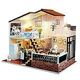 Blanket Kits de construcción de Modelos con Muebles, casa de muñecas en Miniatura para Bricolaje con Luces LED, Mini Kits de Manualidades para la habitación Hechos a Mano, desafío de Rompecabezas 3D
