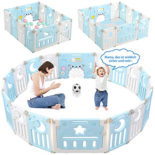 Dripex Laufgitter Laufstall Baby Absperrgitter 14-Paneele Schutzgitter Krabbelgitter für Kinder aus Kunststoff mit Tür und Spielzeugboard (Blau-Weiß)