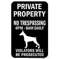 PRIVATE PROPERTY ブラックマグネットサイン:ドーベルマン(立ち耳) シルエット 英語 私有地 無断立入禁止