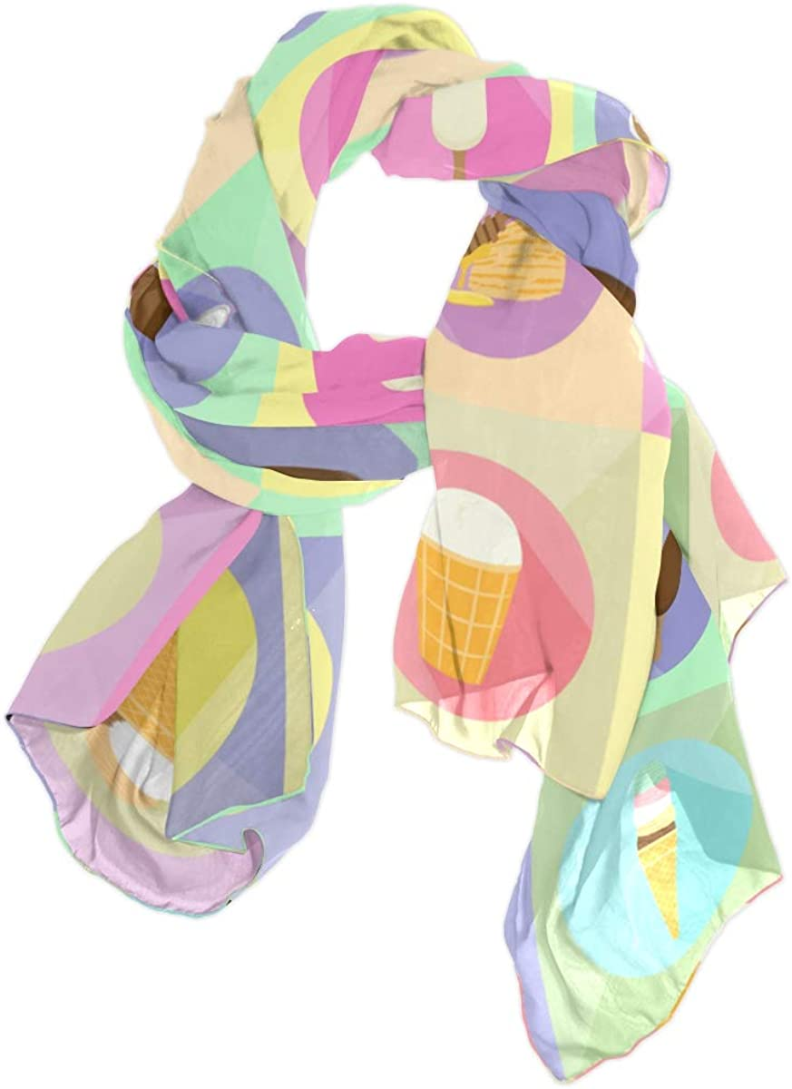 Delicious Dessert Ice Cream Unique Fashion Scarf For Women Lightweight Fashion Fall Winter Print Scarves Shawl Wraps Gifts For Early Spring